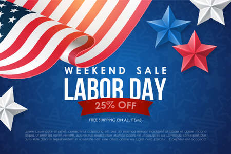 Labor day sale banner design with lettering, american flag and stars. Social media promotion template