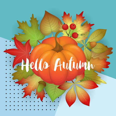Autumn banner design with fall  leaves and pumpkin. Vector illustration