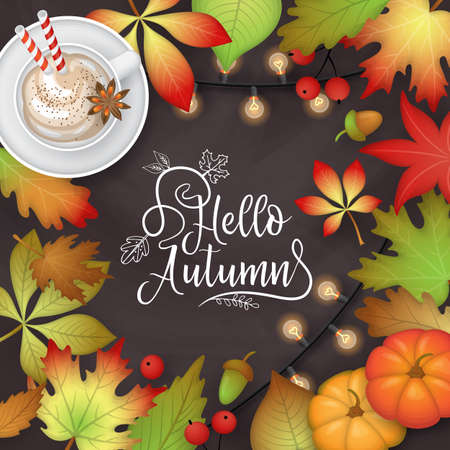 Autumn banner design with fall  leaves, pumpkin and pumpkin latte cup on chalkboard background. Flat lay style vector illustration