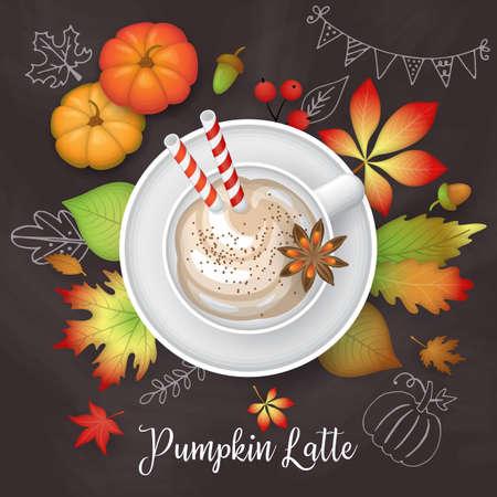 Tazza di latte zucca con foglie di autunno sullo sfondo della lavagna. Illustrazione vettoriale piatto stile illustrazione