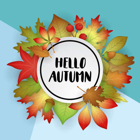 Autumn banner design with fall nature leaves. Vector illustration