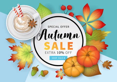Autumn banner design with fall  leaves, pumpkin and pumpkin latte cup. Sale concept. Vector illustration