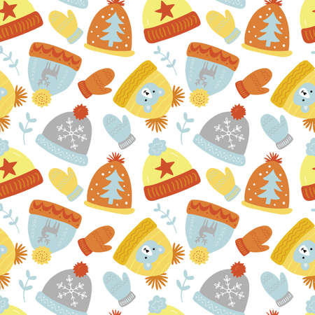 Christmas holiday seamless pattern background with hand drawn elements - winter hats and mittens. Vector illustration