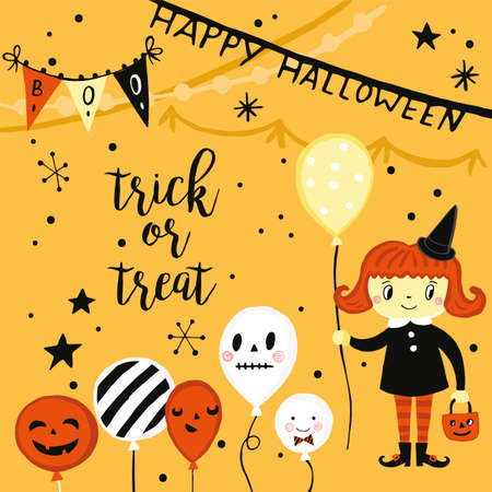 Halloween holiday greeting card with hand drawing elements - witch and balloons. Vector illustration for party invitation, website, cards and stickers design Vettoriali