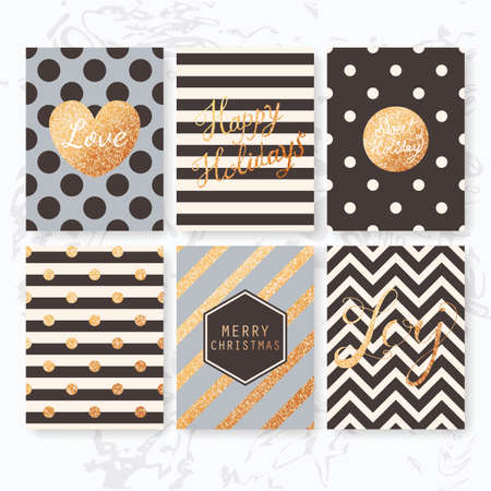 Modern creative Christmas cards set in rose gold, blush and black on marble background. Vector illustration Vettoriali