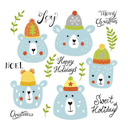 Christmas holiday hand drawing set - cute bears in hats and lettering. Vector illustration Vettoriali