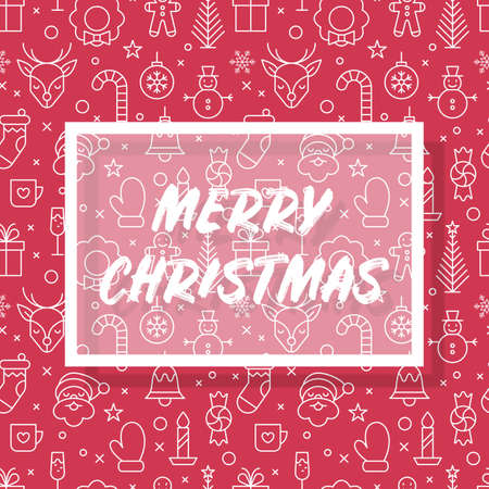 Christmas banner design with typography and thin line icons seamless pattern