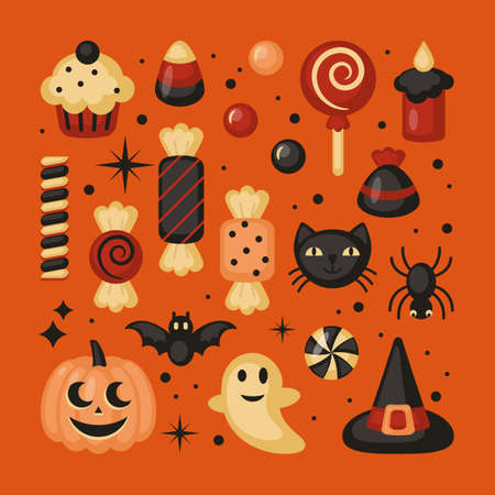 Halloween holiday set of elements for graphic and web design. Vector illustration Vettoriali