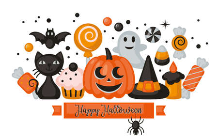 Halloween holiday banner design with jack o lantern pumpkin, candy corn and black cat. Vector illustration