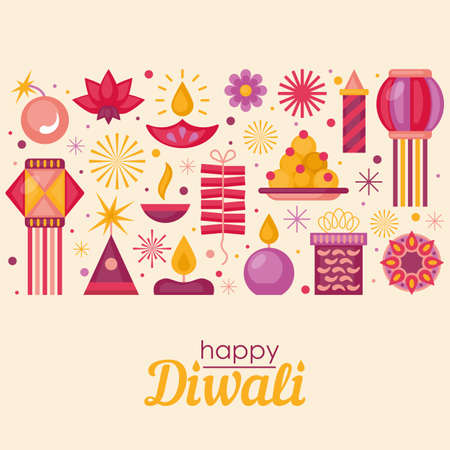 Diwali Hindu festival banner design with modern flat elements Vettoriali