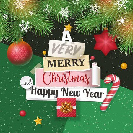 Design bandiera di Natale con lettering, note di carta e pino. Stile piatto Vettoriali