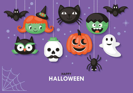 Halloween holiday banner design with cute characters. Vector illustration