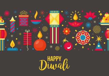 Diwali Hindu festival seamless pattern for graphic and web design