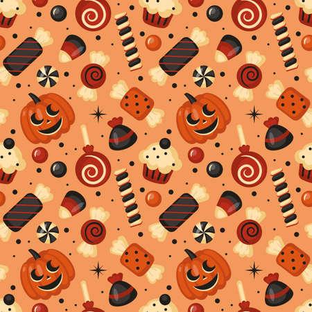 Halloween holiday seamless pattern background. Vector illustration Vettoriali
