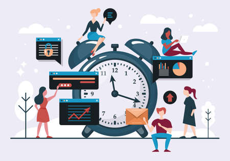 Time management concept with alarm clock and young people team. Flat style vector illustration
