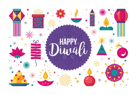 Diwali Hindu festival flat modern elements set for graphic and web design Vettoriali