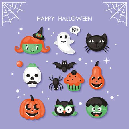 Halloween holiday cute characters set. Vector illustration Vettoriali