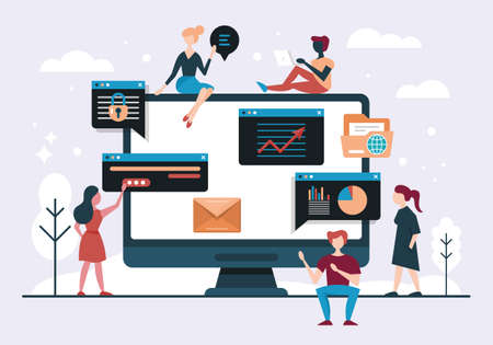 Web design and app development concept with computer and young people team. Flat style vector illustration