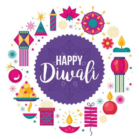 Diwali Hindu festival banner design with modern flat elements Ilustração
