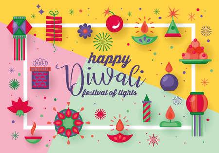 Diwali Hindu festival banner design with modern flat elements. Sale concept