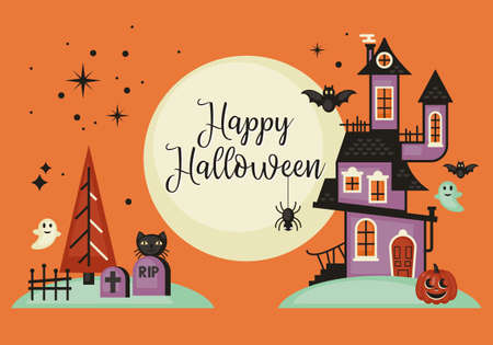 Halloween banner design with haunted house. Vector illustration