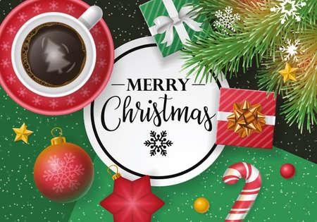 Disegno bandiera di Natale con lettering, tazza di caffè, nota di carta e regali. Stile piatto