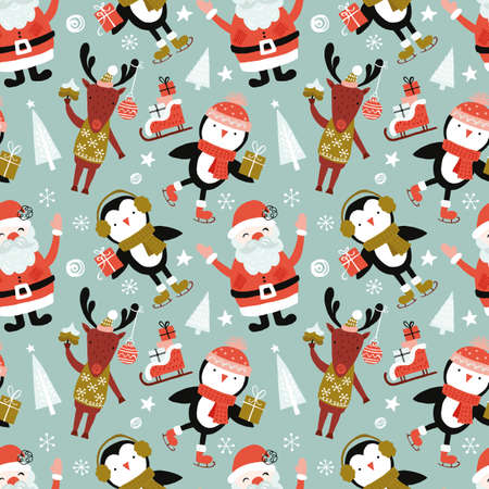 Holiday and Christmas hand drawing seamless pattern backgound with cute santa, reindeer and penguin. Isolated vector illustration