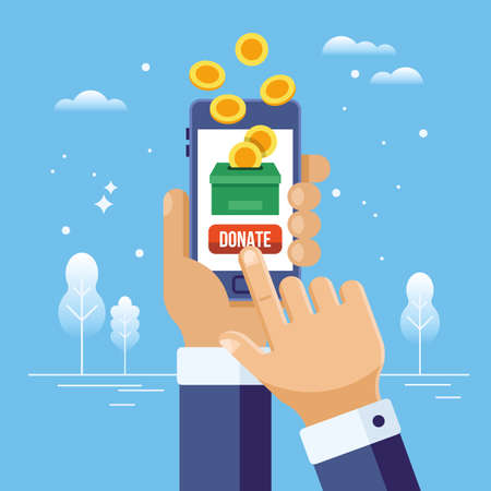 Online charity and donation concept. Hand holding smart phone with money and donation box.