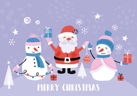 Holiday and Christmas hand drawing banner design with cute santa and snowman. Isolated vector illustration