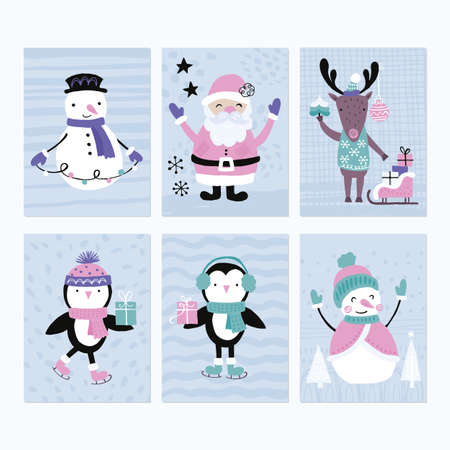 Holiday and Christmas hand drawing greeting card set with cute animals and characters. Isolated vector illustration