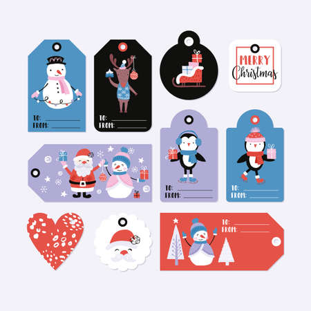 Holiday and Christmas hand drawing gift tags set with cute animals and characters. Isolated vector illustration