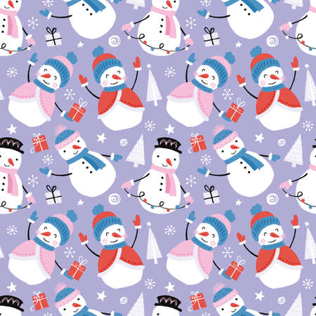 Holiday and Christmas hand drawing seamless pattern background with snowman. Isolated vector illustration