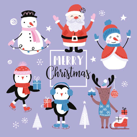 Holiday and Christmas hand drawing elements set with cute animals and characters. Isolated vector illustration Vettoriali