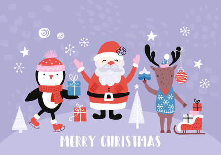 Holiday and Christmas hand drawing banner design with cute santa, reindeer and penguin. Isolated vector illustration