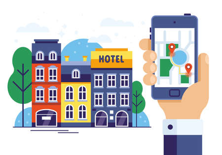 Augmented reality, navigation and location concept. Hand holding smart phone and seaching hotel on city map. Vettoriali