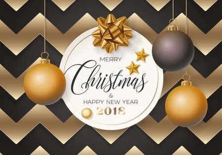 Christmas flat style card design. Vettoriali