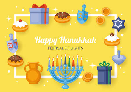 Hanukkah holiday card concept.