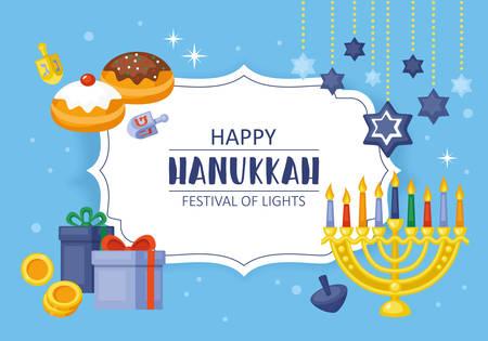 gelt: Hanukkah holiday card concept.