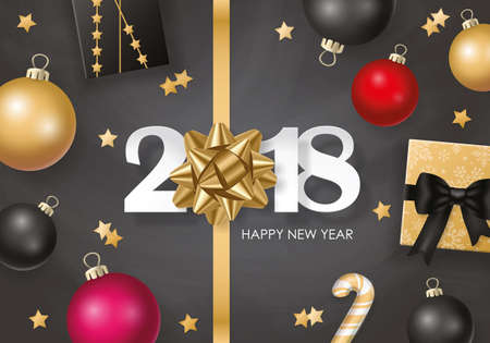 New Year 2018 banner design with christmas balls and gift boxes in black and gold.