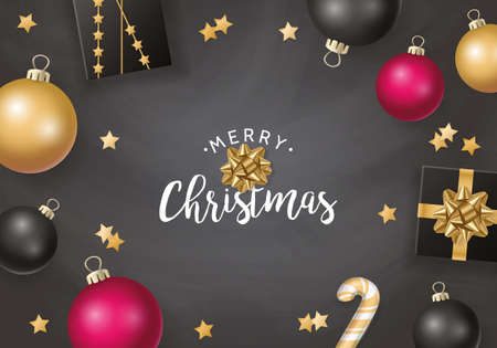Christmas banner design in flat lay style with christmas balls and gift boxes in black and gold.