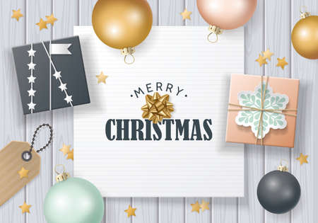Christmas banner design in flat lay style with christmas balls and gift boxes. Vettoriali