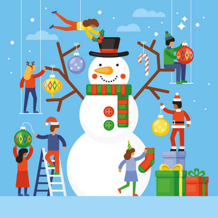 Christmas holiday flat style concept illustration with small people decorating snowman.