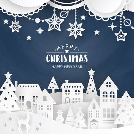 Christmas background in paper art style with winter town landscape and decorations.