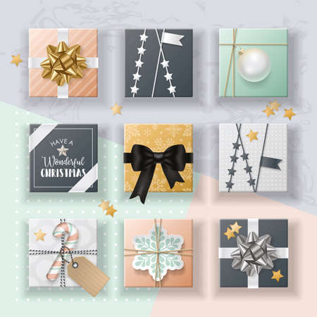 Set of christmas realistic gift boxes in flat lay style illustration. Vettoriali