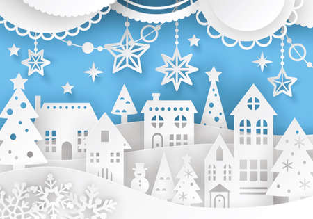 Winter town landscape in paper art style with christmas celebration decorations.