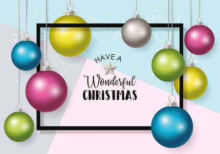 Christmas banner design with typography and baubles decorations background.