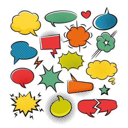 Comic speech bubbles pop art set for graphic and web design Vettoriali