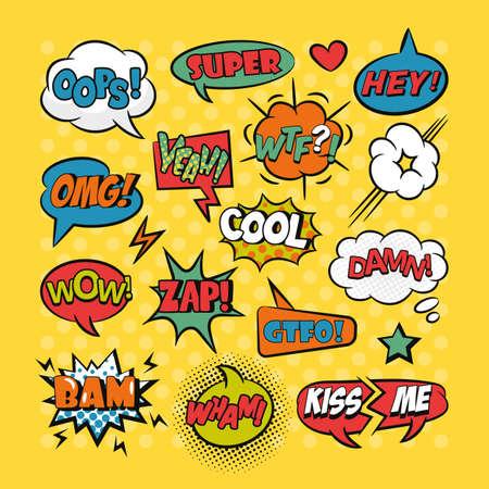 Comic speech bubbles pop art set with typography Vettoriali