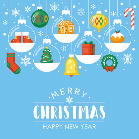 Christmas flat style background with baubles decorations for web and graphic design Illustration