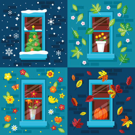 Four seasons concept with window, Christmas tree, autumn leaves and summer flowers. Flat vector illustration.